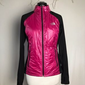 North face pink and black lightweight jacket